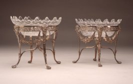 Silver holder with Bristol glass dish and sweetmeat dish