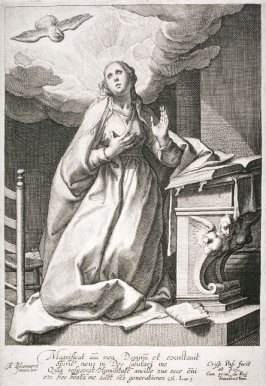 The Virgin Mary, with the Holy Spirit appearing in the form of a dove