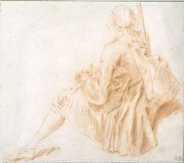 Study: Seated Soldier, viewed from the rear, facing left