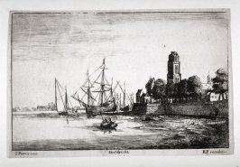 View of Dortrecht with shipping in foreground