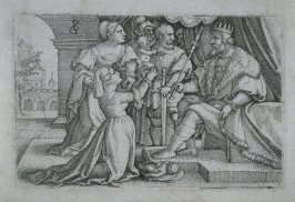 Solomon judging the two women disputing over a child