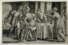 Tobit leaving his table to tend to the body of a dead man