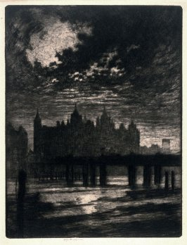 London Bridge and Building at Night, Whitehall Court, London, 1894