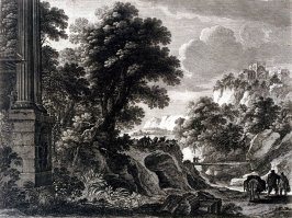 Landscape with ruins in foreground
