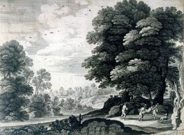 Landscape With Men Carrying Another By His Arms and Legs