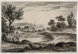 Landscape with three men in the foreground
