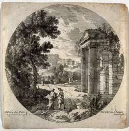 Landscape with ruins in the foreground