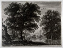 Landscape with two men talking by the river