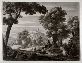 Landscape with castle in background