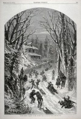 Winter Sports - Coasting in the Country - from Harper's Weekly (February 17. 1877), p. 133