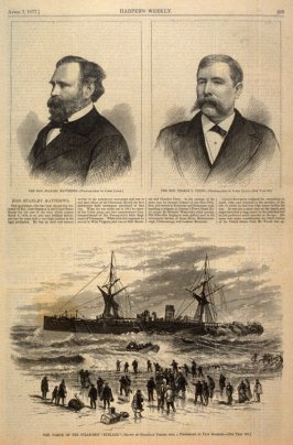 "Two Portraits -and- The Wreck of the Steamship ""Rusland"" - p.265 Harper's Weekly (7 April 1877)"