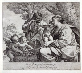 The Holy Family; Joseph offering grapes to the Infant Christ