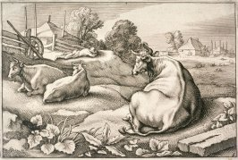 Three Cows Lying Down in Foreground, A Sleeping Peasant in Background, no. 6 from Diversa Animalia Quadrupedia