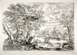 Landscape with two people at the river