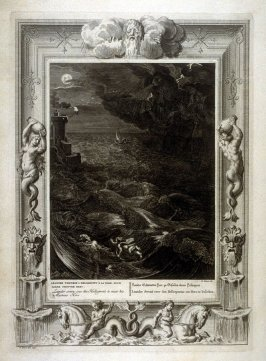 Leander swims over the Hellespont to meet his Mistress Hero