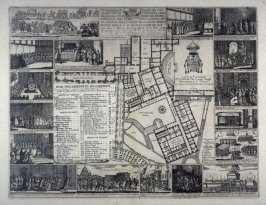 Plan of various parts of the Vatican with etchings of scenes of many religious ceremonies