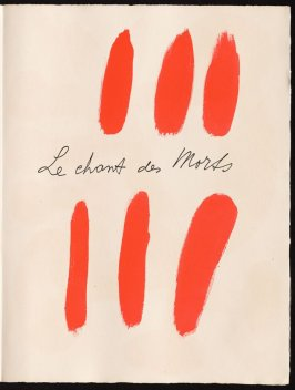 Half title page, pg. 3, in the book Le Chant des morts (The Song of the Dead) by Pierre Reverdy (Paris: Tériade Editeur, 1948)
