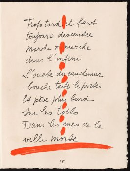 Untitled, design for page 15 of the book Le Chant des morts (The Song of the Dead) by Pierre Reverdy (Paris: Tériade Editeur, 1948)