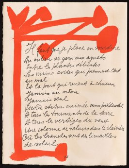 Untitled, design for page 92 in the book Le Chant des morts (The Song of the Dead) by Pierre Reverdy (Paris: Tériade Editeur, 1948)