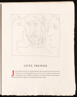 """""""Trois têtes d'hommes"""" pg. 7, by Picasso in the book Les Métamorphoses by Ovid (Lausanne: Albert Skira, 1931)."""