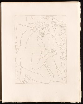 """Deucalion et Pyrrha crént un nouveau genre humain"" (inserted between pgs. 12 and 13), by Picasso in the book Les Métamorphoses by Ovid (Lausanne: Albert Skira, 1931)."