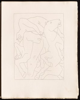 """Chute de phaéton avec le dhar du soleil"" ( inserted between pgs. 44 and 45), by Picasso in the book Les Métamorphoses by Ovid (Lausanne:Albert Skira, 1931)."