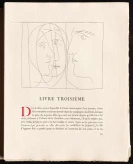"""Têtes"" pg. 61, by Picasso in the book Les Métamorphoses by Ovid (Lausanne:Albert Skira, 1931)."