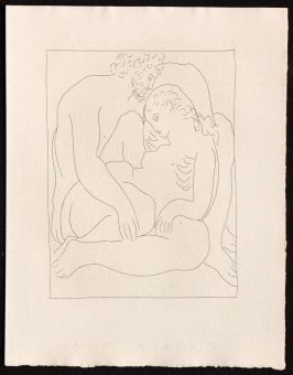 """Amours de Jupiter et de Sémélé"" (inserted betweem pgs. 72 and 73), by Picasso in the book Les Métamorphoses by Ovid (Lausanne: Albert Skira, 1931)."