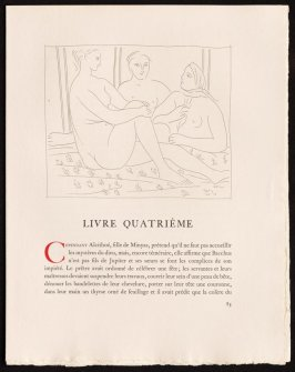 """Trois femmes nues"" pg. 85, by Picasso in the book Les Métamorphoses by Ovid (Lausanne: Albert Skira, 1931)."