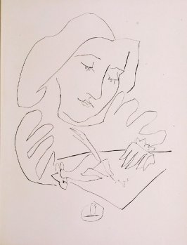 """ Illustration. Femme dessinant,"" in the book Góngora: Vingt poëmes by Luis de Góngora y Argote (Paris: Les Grands Peintres modernes et le Livre, 1948)."