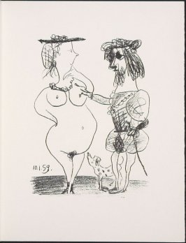 """Le seigneur et la dame"" (TheLord and the Dame) by Pablo Picasso, pg. 111, in the book Souvenirs et portraits d'artistes (Reminiscences and Portraits of Artists) by Fernand Mourlot (Paris: Alain c. Mazo, 1972 and in New York: Léon Amiel, 1972)."