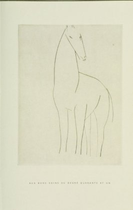 """minuit,"" Illustration I, in the book Chevaux de minuit by Hélène Barrone d'Oettingen (Roch Grey) (Paris: Iliazd, 1956)"