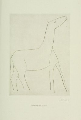 """Romance,"" Illustration IV, pg. 11, in the book Chevaux de minuit by Hélène Barrone d'Oettingen (Roch Grey) (Paris: Iliazd, 1956)"