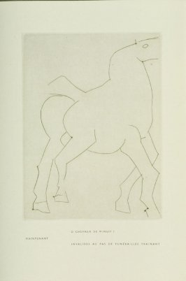 """Funérailles,"" Illustration VI, pg. 29, in the book Chevaux de minuit by Hélène Barrone d'Oettingen (Roch Grey) (Paris: Iliazd, 1956)"
