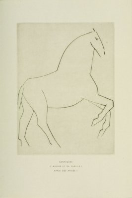 """Le courrier,"" Illustration VII, pg. 38, in the book Chevaux de minuit by Hélène Barrone d'Oettingen (Roch Grey) (Paris: Iliazd, 1956)"