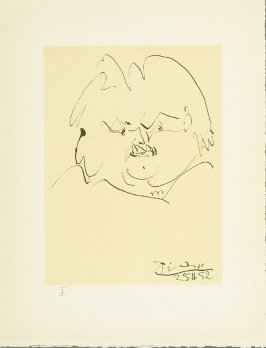 """Portrait of Balzac"" plate I, in the book Balzacs en bas de casse et Picasso sans majuscule by Michel Leiris (Paris: Gallerie Louise Leiris, 1957)."