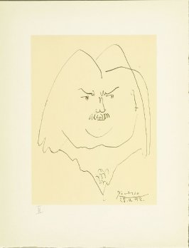 """Portrait of Balzac"" plate III, in the book Balzacs en bas de casse et Picasso sans majuscule by Michel Leiris (Paris: Gallerie Louise Leiris, 1957)."