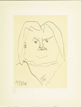"""Portrait of Balzac"" plate IV, in the book Balzacs en bas de casse et Picasso sans majuscule by Michel Leiris (Paris: Gallerie Louise Leiris, 1957)."