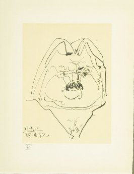 """Portrait of Balzac"" plate V, in the book Balzacs en bas de casse et Picasso sans majuscule by Michel Leiris (Paris: Gallerie Louise Leiris, 1957)."