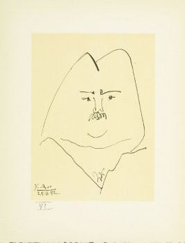 """Portrait of Balzac"" plate VI, in the book Balzacs en bas de casse et Picasso sans majuscule by Michel Leiris (Paris: Gallerie Louise Leiris, 1957)."