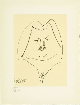 """Portrait of Balzac"" plate VII, in the book Balzacs en bas de casse et Picasso sans majuscule by Michel Leiris (Paris: Gallerie Louise Leiris, 1957)."