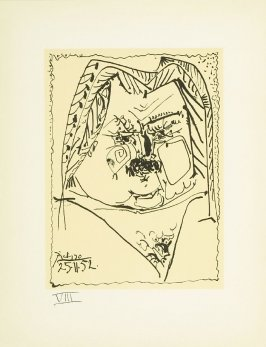 """Portrait of Balzac"" plate VIII, in the book Balzacs en bas de casse et Picasso sans majuscule by Michel Leiris (Paris: Gallerie Louise Leiris, 1957)."