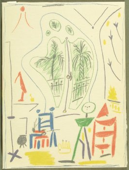 """In Picasso's Studio,"" cover for the book Dans l'atelier de Picasso (In Picasso's Studio) by Jaime Sabartés (Paris: Fernand Mourlot, 1957)."