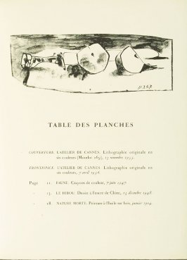 """The Knife and the Apple,"" on the table of the plates page, in the book Dans l'atelier de Picasso (In Picasso's Studio) by Jaime Sabartés (Paris: Fernand Mourlot, 1957)."