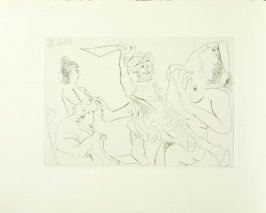 """Homme en babouches menaçant d'un poignard une femme nue devant deux spectateurs âgés,"" frontispiece, in the book El entierro del Conde De Orgaz by Pablo Picasso (Barcelona: Editorial Gustavo Gili, 1969)."