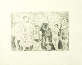 """Personages de cirque: la parade,"" pg. 29, in the book El entierro del Conde De Orgaz by Pablo Picasso (Barcelona: Editorial Gustavo Gili, 1969)."