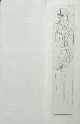 """Nu de profil: Garde gauche"" (Nude in profile: Left Guard), pl. 1 in the book Escrito (Letter) by Ilia Zdanevitch (Iliazd) (Paris: Latitud Cuarenta y Uno, 1948)"