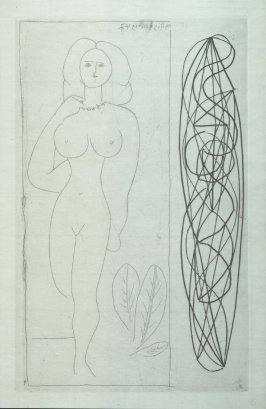 """Femme aux feuilles et arabesque"" (Woman with Leaves and Arabesque), pl. 5 in the book Escrito (Letter) by Ilia Zdanevitch (Iliazd) (Paris: Latitud Cuarenta y Uno, 1948)"