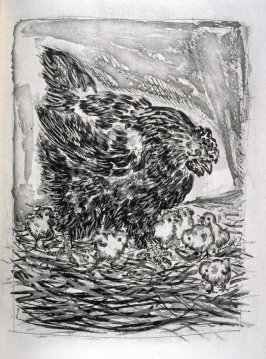 La mère poule (The hen), pl. 18, from the book Picasso/Eaux-fortes originales pour des textes de Buffon (Picasso/Original Etchings for the Texts by Buffon) (Paris: Martin Fabiani, 1942)