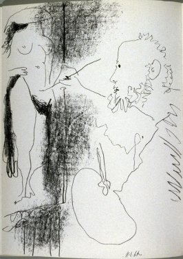 Le peintre et son modèle (The painter and his model), frontispiece for Picasso Lithographe/IV/1956-1963. Catalogue by Fernand Mourlot. (Monte-Carlo:André Sauret Éditions du Livre, 1964)